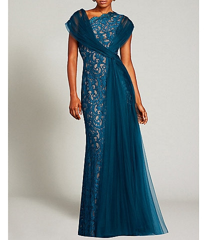 Tadashi Shoji Asymmetric Neckline Mixed Media Lace Pleated Tulle Side Knot Detail Front Slit Gown