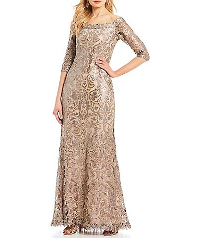 Tadashi Shoji Off-The-Shoulder 3/4 Sleeve Sequin Lace Gown