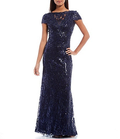 Tadashi Shoji Boat Neck Cap Sleeve Sequin Corded Lace Column Gown