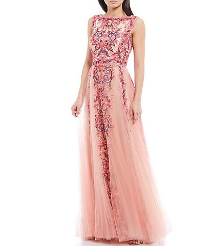Tadashi Shoji Boat Neck Sleeveless Embroidered Tulle Ball Gown