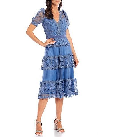 Tadashi Shoji Embroidered Lace Pleated Midi Dress