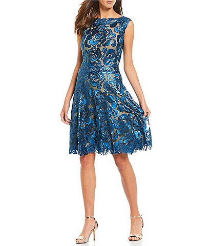 Tadashi Shoji Floral Embroidered Sequin Lace A-Line Dress