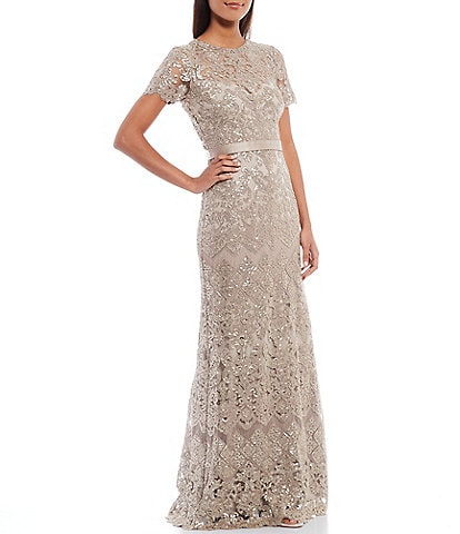 Tadashi Shoji Illusion Crew Neck Short Sleeve Ribbon Waist Sequin Lace Gown