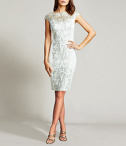 Tadashi Shoji Illusion Center Lace Boat Neck Scuba Crepe Sheath Dress