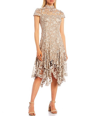Tadashi Shoji Illusion Mock Neck Lace Short Sleeve Midi Dress