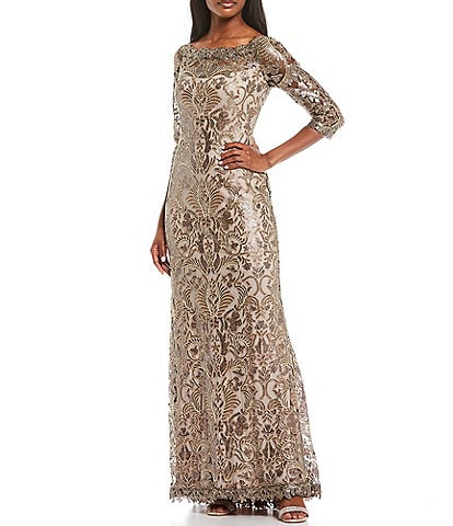 Tadashi Shoji Illusion Sleeve Boat Neck Sequin Corded Lace Gown