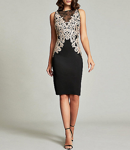 Tadashi Shoji Illusion Yoke Sequined Corded Lace Scuba Crepe Sheath Dress