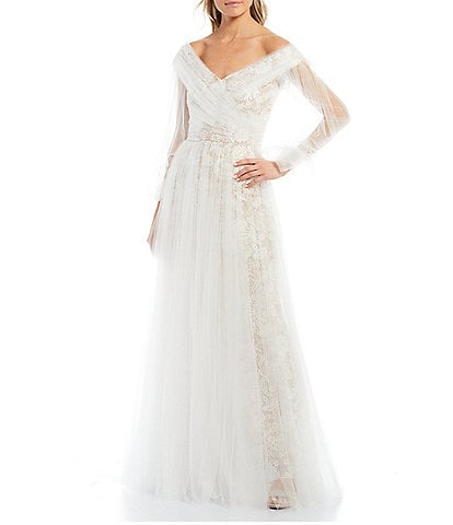 Tadashi Shoji Lace Tulle Layered Off-the-Shoulder Balloon Sleeve Bridal Ball Gown