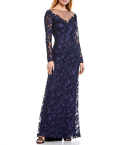 Tadashi Shoji Long Sleeve Illusion Neck Floral Embroidered V-Back Lace Gown