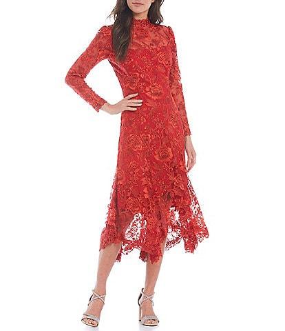 Tadashi Shoji Long Sleeve Mock Neck Handkerchief Hem Lace Dress