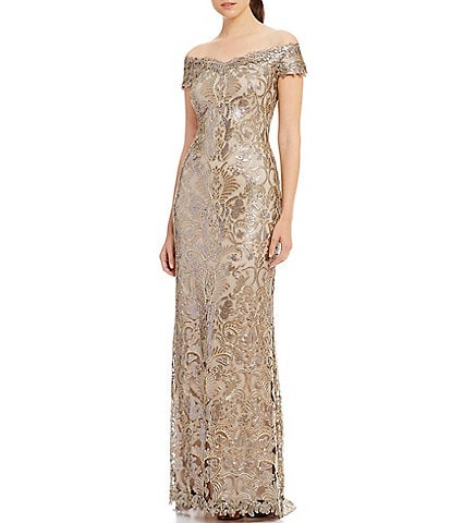 Tadashi Shoji Off-The-Shoulder Cap Sleeve Sequin Embroidered Column Gown