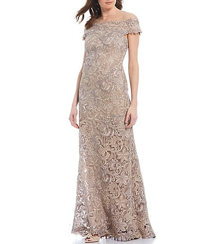 Tadashi Shoji Off-the-Shoulder Cordered Lace A-Line Gown