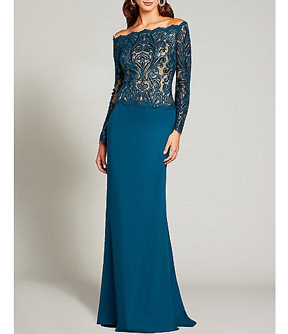 Tadashi Shoji Off-The-Shoulder Long Sleeve Embroidered Stretch Crepe Gown