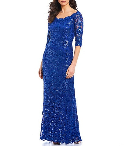 Tadashi Shoji Scalloped Boat Neckline 3/4 Sleeve Sequin Lace Gown