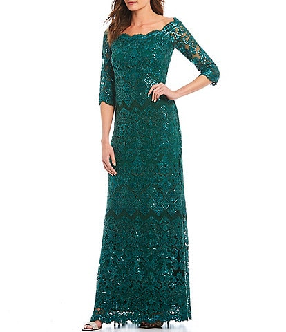 Tadashi Shoji Off-the-Shoulder Scallop Neckline Trim Sequin Lace Gown