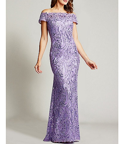 Tadashi Shoji Off-the-Shoulder Sequin Column Gown