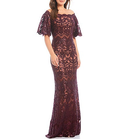 Tadashi Shoji Off-the-Shoulder Sequin Lace Scalloped Hem Gown