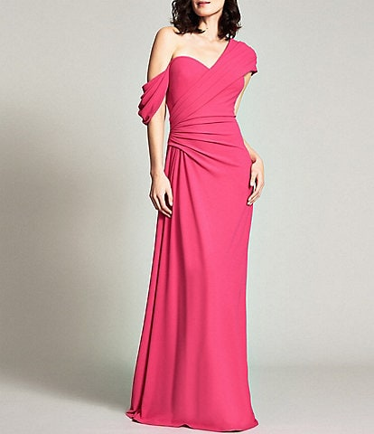 Tadashi Shoji One Shoulder Side Ruched Stretch Crepe Gown