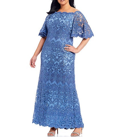 Tadashi Shoji Plus Size Off-the-Shoulder Sequin Lace Scalloped Hem Gown