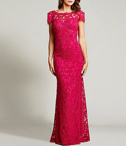 Tadashi Shoji Scoop Back Cap Sleeve Corded Lace Gown