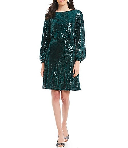 Tadashi Shoji Sequin Long Sleeve Lace Detail Blouson Dress