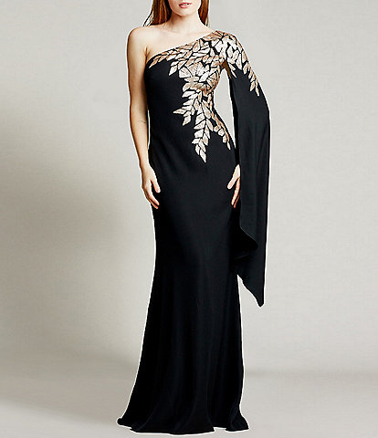 Tadashi Shoji Sequin Embellished One Shoulder Cape Sleeve Crepe Gown