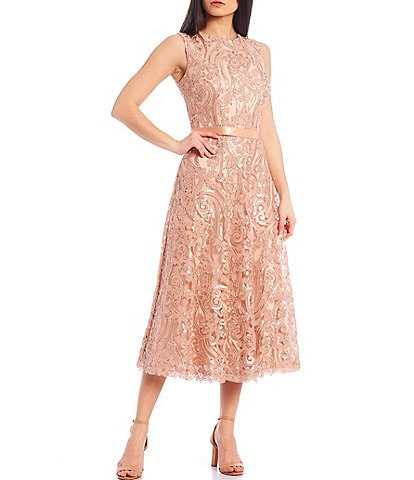 Tadashi Shoji Sequin Embroidered Corded Lace Sleeveless Midi Dress