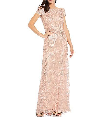 Tadashi Shoji Sequin Lace Off the Shoulder Cap Sleeve A-Line Gown