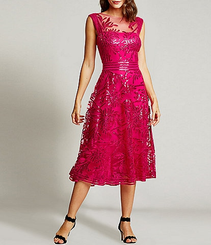 Tadashi Shoji Sleeveless Illusion Neck Sequined Lace Midi Dress