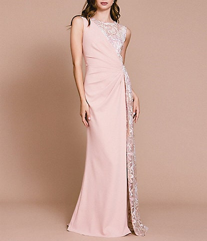 Tadashi Shoji Sleeveless Side Drape Mix Media Column Gown