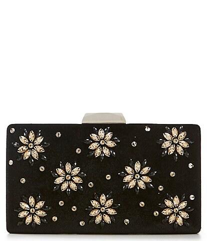 Tadashi Shoji Velvet & Floral Rhinestone Clutch