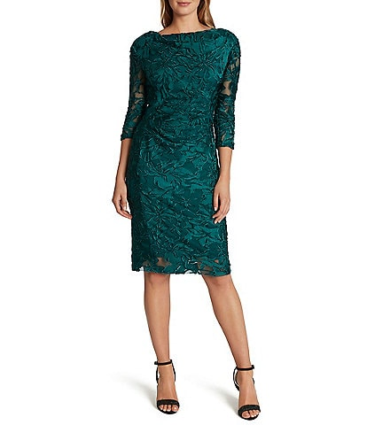 Tahari ASL 3/4 Sleeve Drape Back Floral Burnout Chiffon Sheath Dress