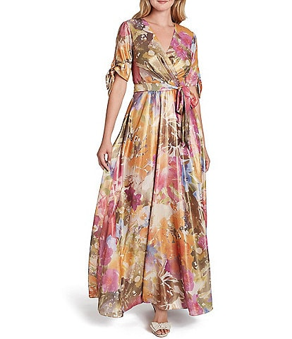 Tahari ASL Abstract Floral Print Georgette Tie Sleeve Pleated Bodice Detail Maxi Dress