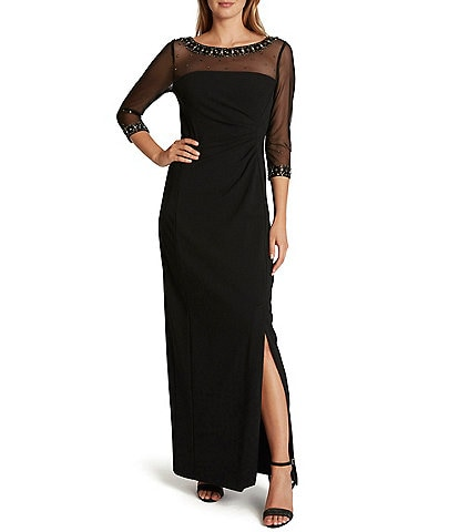 Tahari ASL Beaded Illusion Neck 3/4 Sleeve Stretch Crepe Gown
