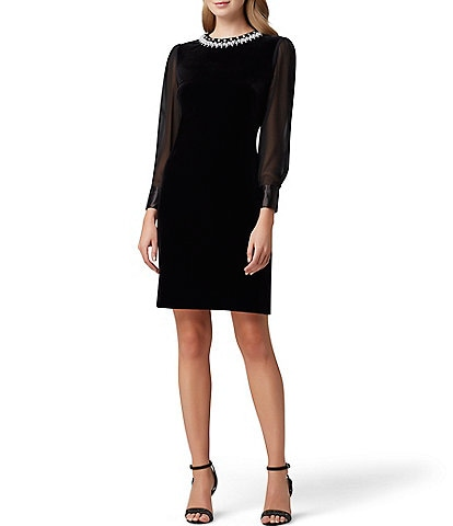 Tahari ASL Beaded Neck Stretch Velvet Sheath Dress