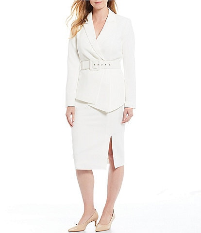 Tahari ASL Belted Asymmetric Fan Pleat Jacket & Pencil Skirt Suit