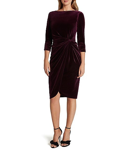 Tahari ASL Boat Neck 3/4 Sleeve Stretch Velvet Twist Detail Sheath Dress