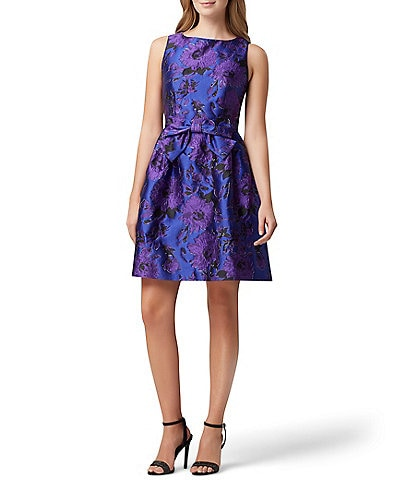 Tahari ASL Bow Front Floral Metallic Jacquard Dress