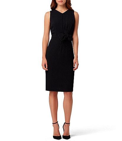 Tahari ASL Bow Front Pin Stripe Sheath Dress