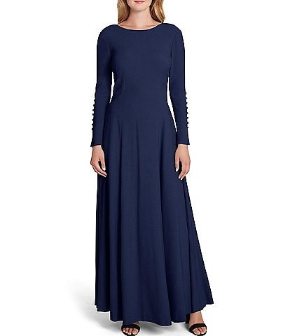 Tahari ASL Button Sleeve Crepe A-Line Dress