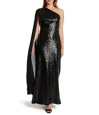 Tahari ASL Chiffon One Shoulder Stretch Sequin Gown