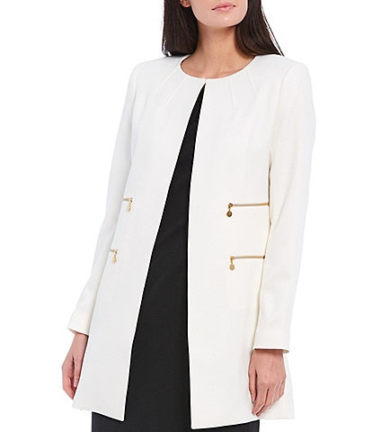Tahari ASL Collarless Double Side Zip Pockets Stretch Crepe Topper
