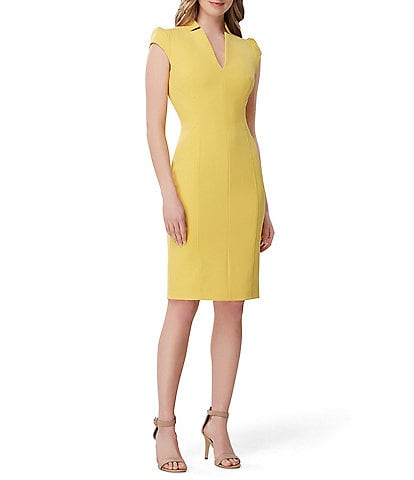 Tahari ASL Crepe Puff Cap Sleeve Notch Collar Sheath Dress
