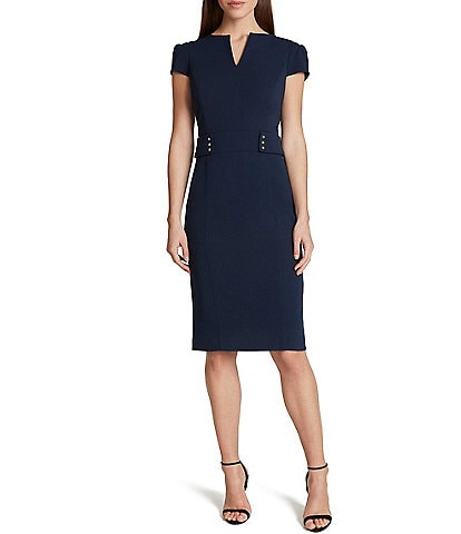 Tahari ASL Crepe Puff Sleeve Rivet Trim Waist Detail Sheath Dress