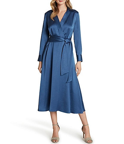 Tahari ASL Crepe Satin Midi Shirt Dress