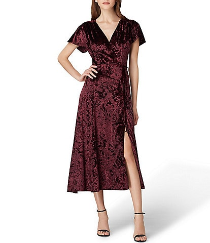 Tahari ASL Crushed Velvet Wrap Style Midi Dress