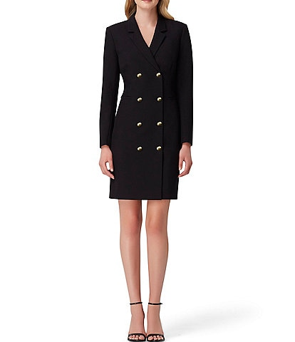 Tahari ASL Double Breasted Crepe Jacket Dress