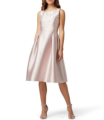 Tahari ASL Embellished Pearl Tea Length Sleeveless Fit & Flare Dress