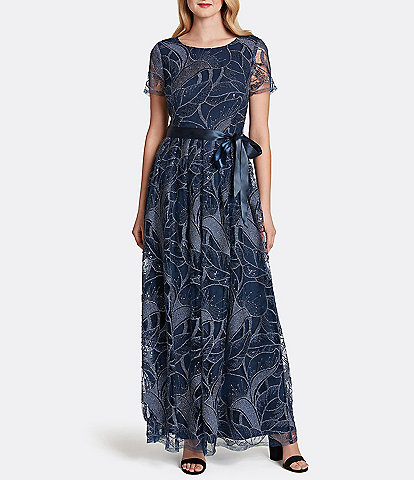 Tahari ASL Embroidered Jewel Neck Lace Knit Gown