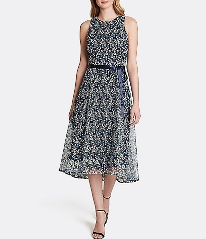 Tahari ASL Embroidered Lace Sleeveless Hi-Low Midi Shift Dress